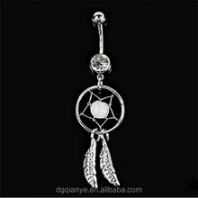 Crystal Gem Dream Catcher Navel Dangle Belly Barbell Bar Ring Navel Piercings Ring