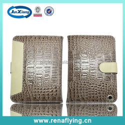 crocodile leather wallet case for ipad mini with card slot and invisible kickstand