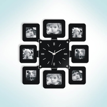 Home Decorative Wall Mounted Photo Frame Clock 8 Pictures Display