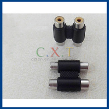 dual 2RCA to 2RCA Nickel-plating adapter for audio video