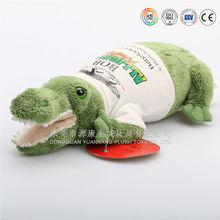 Green wearing T shirt plush toy cute crocodile