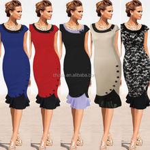 C20579B Alibaba Wholeselling Elegant Lady Long Lace Dress Office Dresses