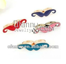 Fashion alloy enamel moustache adjustable two finger ring