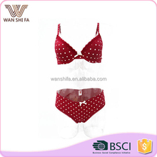 Hot sale comfortable white spots design red cute young ladies bra&panty set