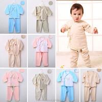 New 2015 Autumn unisex Long sleeve 100% organic Cotton Unisex Infant Clothing sets Baby Clothes