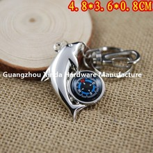 hot selling dolphins compass shaped metal keychain /Dolphin key holder