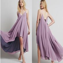 Flare hem high low chiffon maxi dress for woman fancy dress fashion
