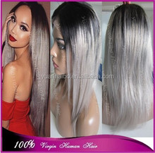 Top grade quality 1b/grey virgin brazilian hair silky straight silver grey ombre front lace wig two tone