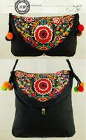 China embroidered ethnic single strap shoulder bag Bohemian Wind Ethnic Tribe Hmong Embroidery Clutch Bag Wristlet Handbag Bag