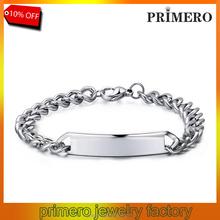 PRIMERO Men's Stainless Steel Bracelet Titanium Bracelet bend cards Customized Engraved Name Bracelet,Nameplate ,Memorial