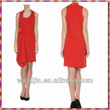 Sleeveless red dress latest design casual out dress for woman