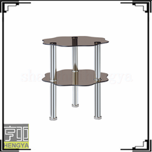 flower shape cheap coffee table with tea color tempered glass dining room furniture