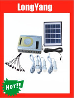 4W solar panel 1W LED light portable solar light kit with radio ,MP3 player for home use