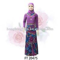 fashion children sets muslim kid girls abaya FT20475