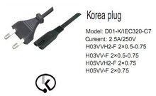 EK approval 2 pins Korea plug to iec c7 female