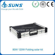 Professional production portable folding solar system home installation with dc LED and TV