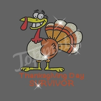 Toptif Rhienstone Hotfix Funny Turkey Heat Transfer For Thanksgiving