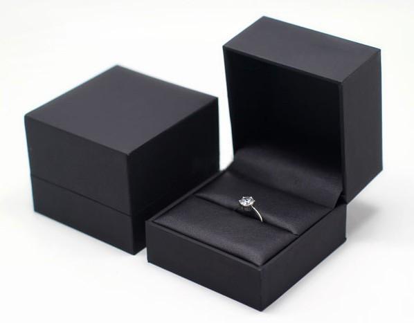 High end caixa de jóias para anel pulseira colar de couro preto