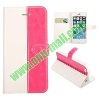 New arrival fashionable Dual-color Wallet wallet leather case for iphone 5 5S With Card Slot