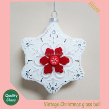 Glass ball hand painted cabin winter snow scene Christmas Ornament