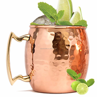 Moscow Mule Solid Copper Mug 550 ML 100% Pure Copper plated Hammered mug Best Quality Lacquered Finish mule mug 18 oz