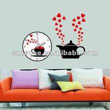 Water Pot Red Heart Wall Sticker Clock Wedding Decoration