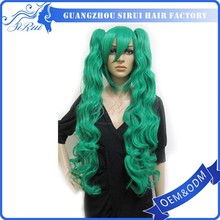 China factory best sellers cheap human hair long straight wig green Japanese hot cosplay wigs