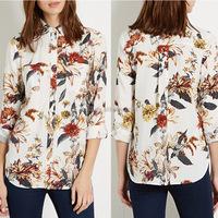 2015 new design simple pattern printed fashion ladies office uniform blouse