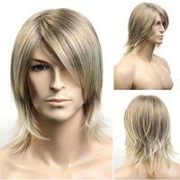Handsome Boy Wig Kanekalon Fiber Side Bangs Full Lace Male Long Hair Wig for Men Blonde