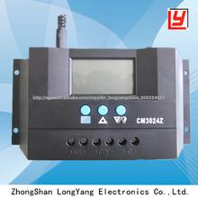 Pwm de control inteligente y pantalla lcd controlador de carga solar 12v-24v/30a
