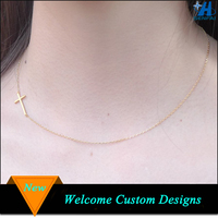 Fashion jewelry 2015 gold sideways jesus cross necklace for sale