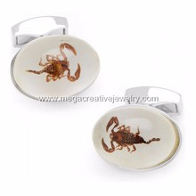 Stainless Steel Novelty Corpion Cufflinks Amber Jewelry
