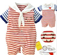 15171 New Arrivals 2015 Wholesale Baby toddler Clothing 0-1 year pure cotton Sailer stripe Short Sleeve baby rompers