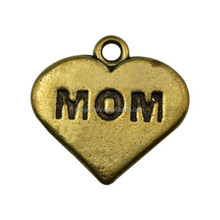 Stock Wholesale Zinc Alloy Antique Bronze Engraved Mom Heart Charm