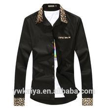 2015 china de moda ocasional hombre leopardo patrón shirts