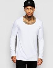 white scoop neck t shirt for men longline long sleeve t-shirt