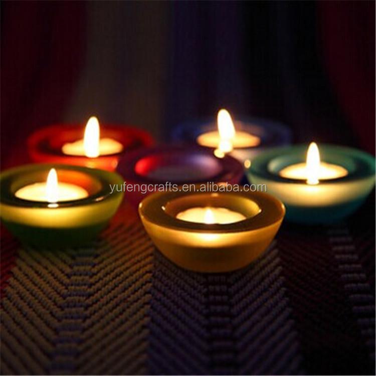Rociado colorido de vidrio vela votiva porta vasos precio barato ...