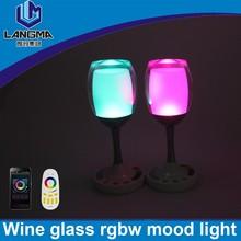 Langma dimming led table lamp,multi function desk light multicolor Elegant Art Deco Wine Glass mood lamp cafe lighting