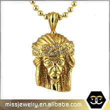 Hip hop jewellery 18k Gold plating 28mm High by 19mm Wide Jesus piece with synthetic diamonds
