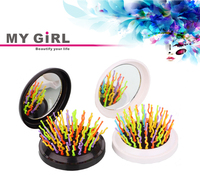 My girl Mini folding personalized hair brush with mirror