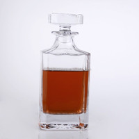 800ml lead free glass crystal whisky decanter, custom design glass bottle