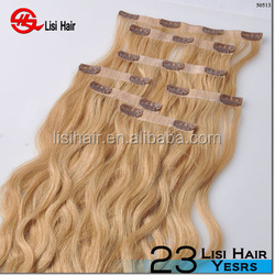 China Golden Supplier 100% Remy Human Hair Thick Cuticles Correct Brazilian full head blond clip hair extension silicon