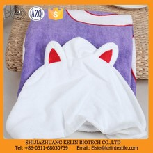 no lint 21s cotton velour printing purple cat hooded towel for beach use