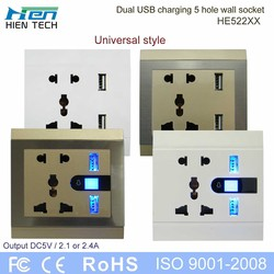 HE-522 series universal USB wall socket professional power supply supplier in China
