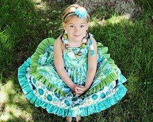 custom children dress flower ruffle fashion designer frock for 6 year old baby girl