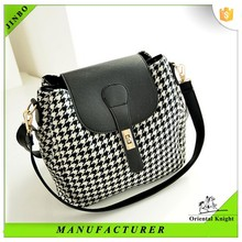 Latest french wholesale women grid shoulder bag with lattice