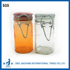 airtight clip top glass juice jar with glass lid ring seal