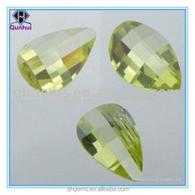 Barrel shaped light olive cubic zirconia gem stones