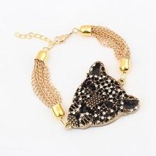 2015 New Arrive Cute Leopard Head Lion Charm Chains Multi Layer Girls Gold Chain Bracelets