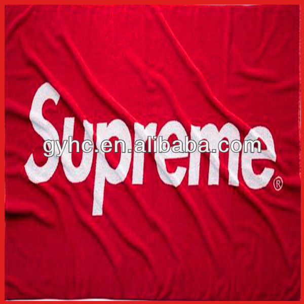High quality red supreme reactive printing cotton beach towel